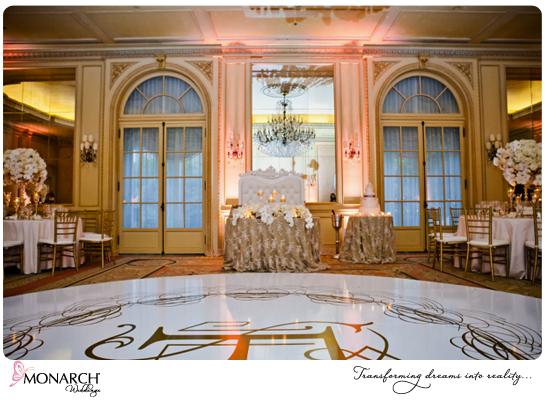 white-dancefloor-with-monogram-westgate-hotel-blush-french-vintage-wedding