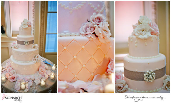 Blush-french-vintage-wedding-cake-pearl-and-rhinestone-detail-westgate-hotel
