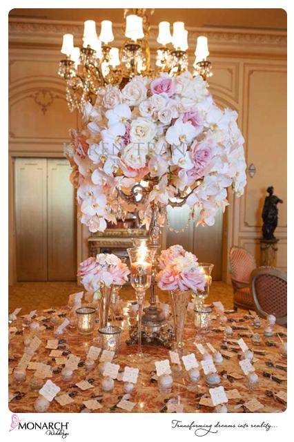 Westgate-Hotel-Blush-french-vintage-wedding-orchid-centerpiece