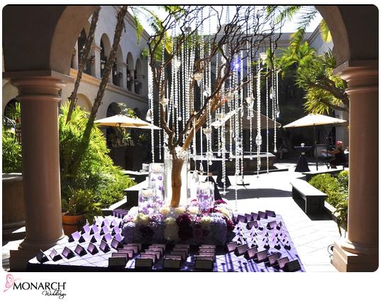 Purple-Prado-wedding-manzanita-tree-dripping-crystals-place-card-table