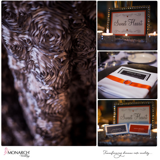 Gray-rosette-linen-orange-and-gray-wedding-Admiral-kidd-club-wedding