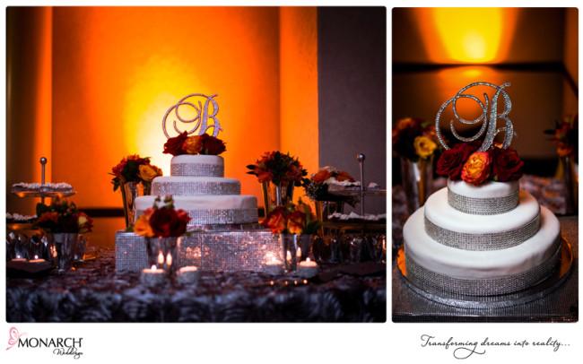 wedding-cake-with-orange-red-flowers-rhinestone-monogam-cake-topper