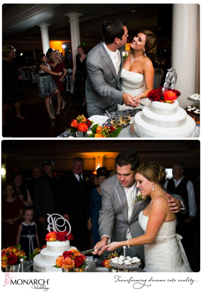 Orange-gray-red-wedding-cake-cutting-admiral-kidd-club