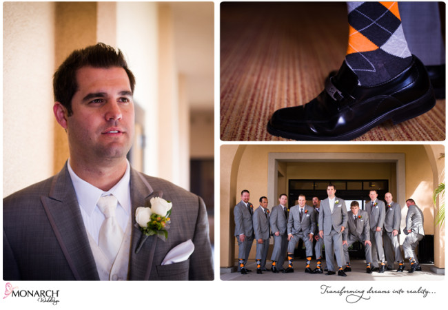 Orange-gray-wedding-admiral-kidd-groomsmen-argyle-socks