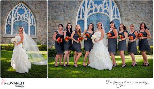 Charcoal-gray-bridesmaids-dresses-at-church
