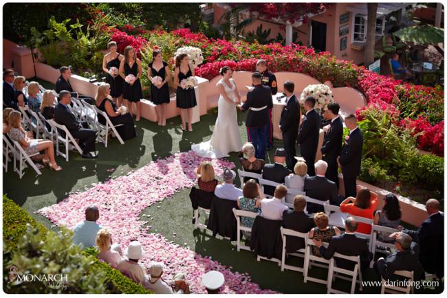 Pink-rose-petal-path-la-valencia-hotel-wedding