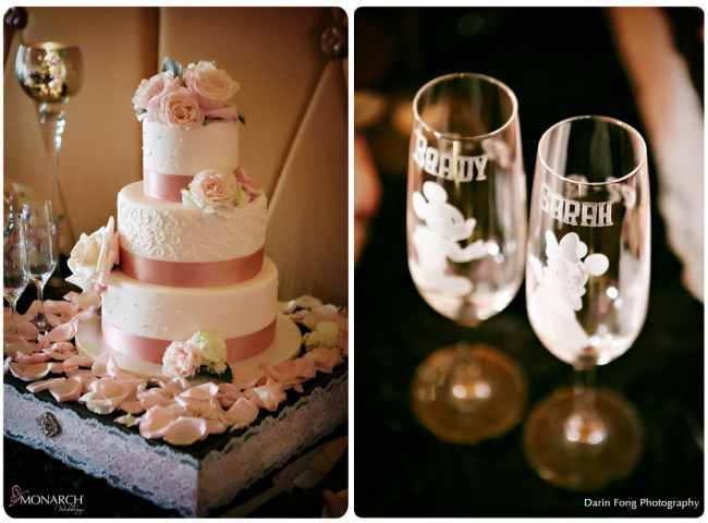 Blush-black-white-wedding-at-La-Valencia-Cake-Disney-engraved-champagne-flutes