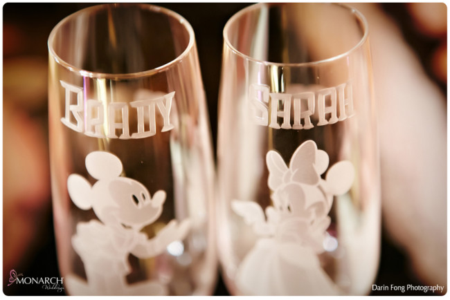 Blush-black-white-wedding-at-La-Valencia-Disney-engraved-champagne-flutes