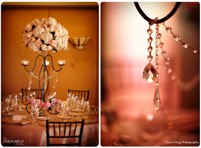 Blush-black-white-wedding-at-La-Valencia-rod-iron-centerpieces