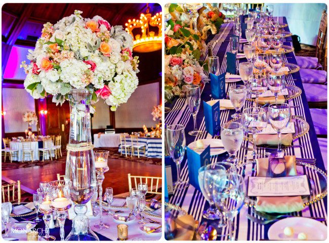 Head-table-love-knot-centerpiece-Nautical-theme-wedding-hotel-del-coronado
