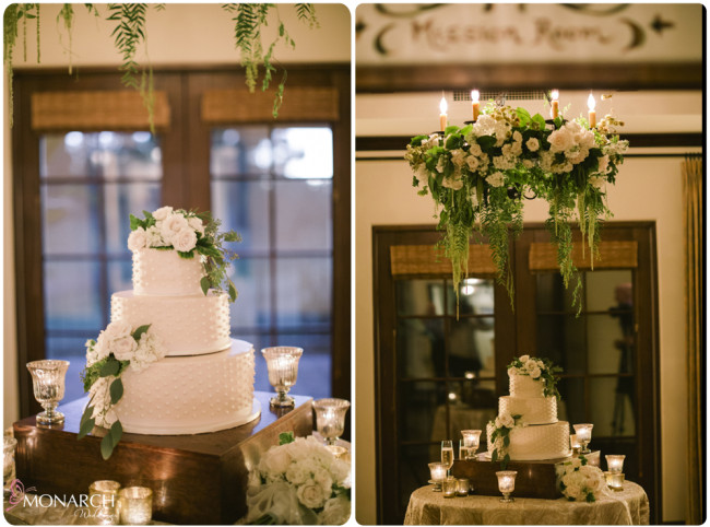 Rustic-garden-chic-wedding-cake-table-floral-chandelier-with-florals