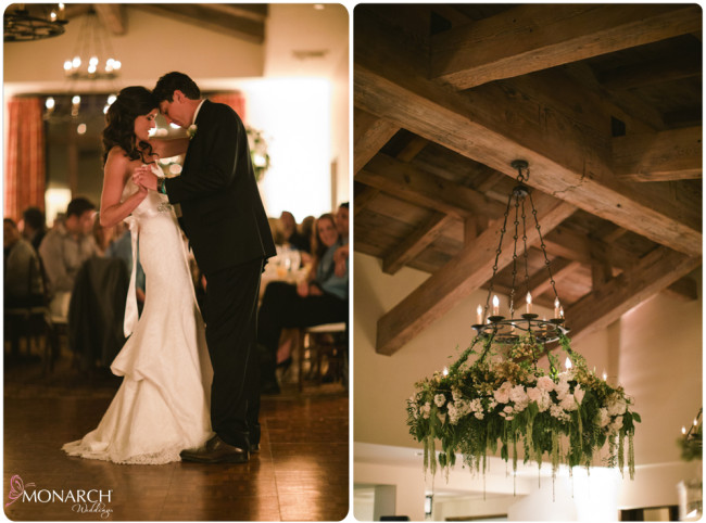 Rustic-garden-chic-wedding-chandelier-with-florals-First-dance