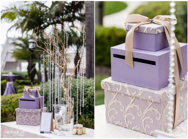 Welcome-gift-table-lavender-envelope-box-hotel-del-coronado-wedding