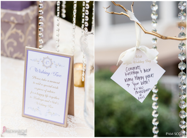 Welcome-gift-table-wishing-tree-hotel-del-coronado-wedding