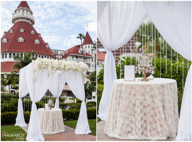 Ceremony-Arbor-with-lace-linen-memorial-candle-hotel-del-coronado-wedding