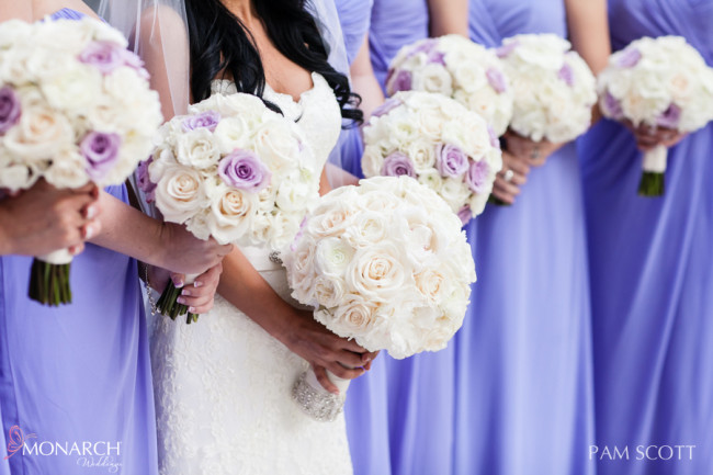 Violet-purple-bridesmaids-dresses-ivory bouquets-hotel-del-coronado-wedding