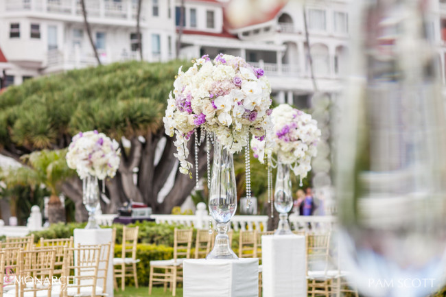 Glamorous-ivory-lavender-florals-with-crystals-hotel-del-coronado-wedding