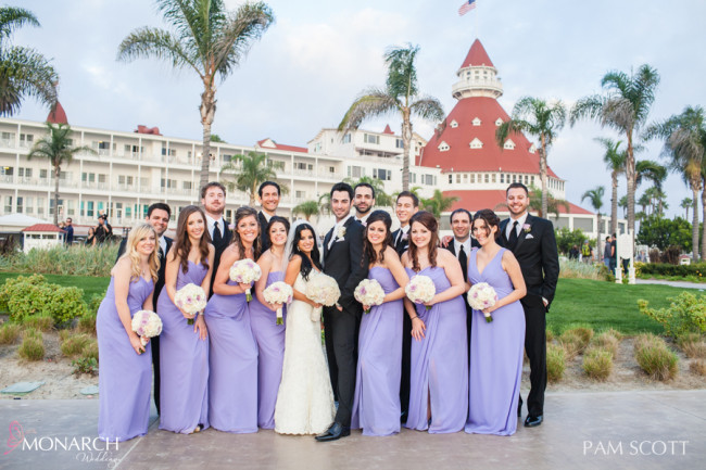 Briidal-party-photo-voilet-bridesmaids-dress-hotel-del-coronado-wedding