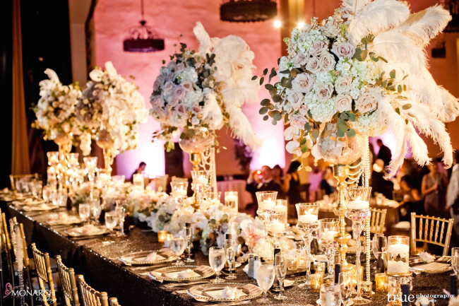 Gatsby-Prado-at-balboa-park-wedding-large-headtable-stage-black-sequin-linen