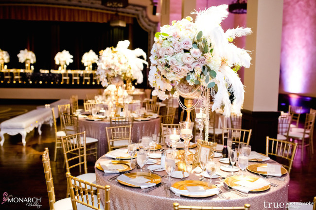 Prado-balboa-park-wedding-gatsby-blush-sequin-linen-feather-centerpiece