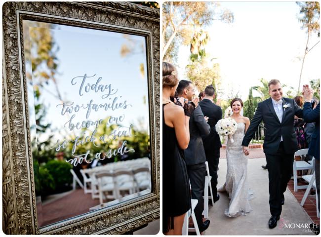 Ceremony-sign-on-mirror-Great-gatsby-prado-balboa-park-wedding