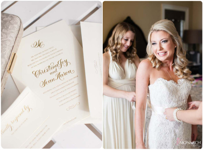 Gold-foil-Invitation-bride-lace-wedding-dress-hotel-del-coronado-weddng
