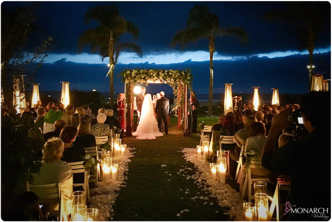 Twilight-evening-ceremony-chuppah-hotel-del-wedding